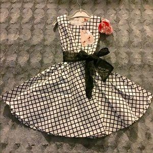 Little Girl window pane printed dress